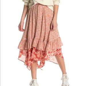 Free People Zuma Floral Tiered Skirt asymmetrical